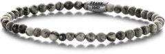 Frank 1967 Courageous Beads 7FB 0316 Natuurstenen Armband met Staal Element - Jaspis 4 mm - Lengte 20 cm - Grijs