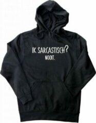 ByKemme Hooded Sweater - met capuchon - Casual Hoodie - Fun Tekst - Lifestyle Hoody - Workout Sweater - Chill Sweater - Zwart - Ik Sarcastisch? Nooit. Maat XXL