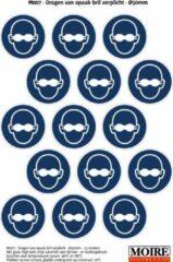 Blauwe Moire BV Pictogram sticker 75 stuks M007 - Dragen van opaak bril verplicht - 50 x 50mm - 15 stickers op 1 vel