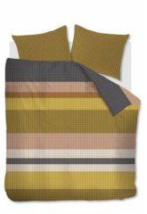 Goudkleurige Beddinghouse Grid Stripe Dekbedovertrek - Lits-jumeaux (240x200/220 Cm + 2 Slopen) - Katoen Satijn - Gold