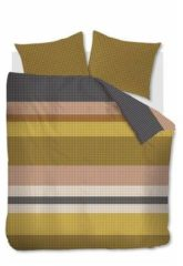 Gouden Beddinghouse Grid Stripe - Dekbedovertrek - Lits-jumeaux - 240x200/220 cm + 2 kussenslopen 60x70 cm - Gold