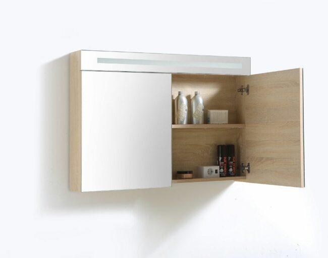 Afbeelding van Lambini Designs Trend Line spiegelkast 100x70cm light wood