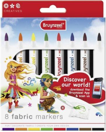 Afbeelding van Bruynzeel textielstiften, etui van 8 geassorteerde kleuren