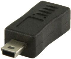 Valueline VLCP60907B USB Mini 5p Mannelijk USB Micro B Female Zwart kabeladapter/verloopstukje