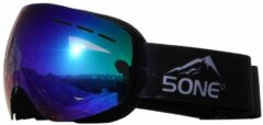 Blauwe 5one® Alpine 1 Blue Oil goggle / skibril - anticondens - UV protected