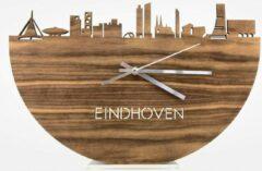 Bruine WoodWideCities Skyline Klok Eindhoven Palissander hout - Ø 40 cm - Woondecoratie - Wand decoratie woonkamer