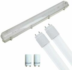 BES LED LED TL Armatuur met T8 Buis Incl. Starter - Aigi Hari - 120cm Dubbel - 32W - Helder/Koud Wit 6400K - Waterdicht IP65
