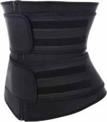 Premium Chibaa 'DOUBLE Waist Plus' sport waisttrainer Zwart Neopreen - Fitness Steunband - Afvalband - dubbele sluiting - Zweetband - Vermager - Dubbel sluiting voor betere pasvorm| Weight Loss - Medium