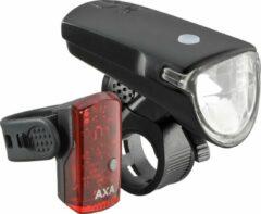 Groene AXA LED Lamp Voor+Achter Greenline USB Oplaarbaar 35 Lux Zwart