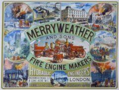 Metal signs UK Wandbord - Merryweather Fire Engine Makers -30x40cm