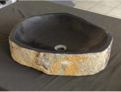 Zwarte Waskom Imso Lavabo Pilar Stone Lava steen 40x60x13cm