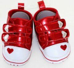 Softtouch Schattige rode schoentjes met hartjes - 0-3 maanden