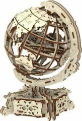 Bruine Wooden City wereldbol 3D puzzel 26 x 18 x 16 cm berken 231-delig