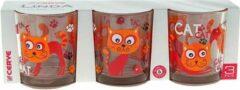 Transparante Cerve Linda Funny Cats glas 220 ml - Set-3