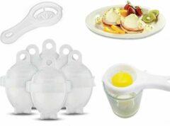 Merkloos / Sans marque Professionele set van 6 Egglettes - BPA vrij - Eieren kopen zonder schil / schaal - Makkelijk eieren koken - Eier koker - Eierkoker set - Transparant