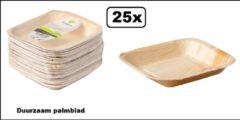 Bruine Themaparty 25x Bordje duurzaam palmblad 17x17cm.