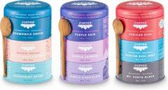 Voordeelverpakking JUSTEA TRIO theeblends - Kruidenthee|Zwarte thee|Paarse thee - Biologische losse thee - Fairtrade - NOn-GMO.