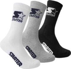 Starter 3-Pack Sportsokken - Grijs/Wit/Zwart - Heren Sokken - maat 43 - 46