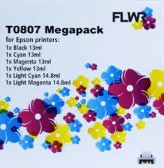 FLWR - Inktcartridge / T0807 / 6-pack Zwart en Kleur - Geschikt voor Epson