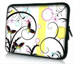 Witte Sleevy 17.3 laptophoes artistiek vlinder design - laptop sleeve - laptopcover - Collectie 250+ designs
