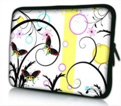 Witte Sleevy 17.3 laptophoes artistiek vlinder design - Laptop sleeve - Macbook hoes - beschermhoes