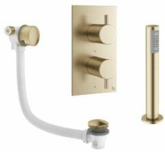Crosswater MPRO inbouw thermostatisch badkraan verticaal 2 weg met greeps inclusief vulcombinatie en handdouche in geborsteld messing (goud) PRO1500RM+