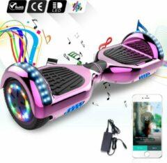 Evercross 6.5 inch Hoverboard met Flits Wielen + TAOTAO moederbord,Bluetooth Speaker,LED verlichting - Roze Chroom