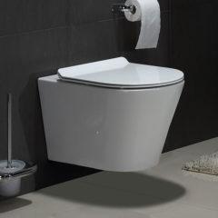 Douche Concurrent Toiletpot Hangend Saturna Rimfree Wandcloset Keramiek Diepspoel Glans Wit met Flatline Softclose Toiletbril