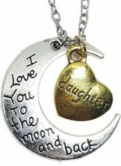 Zilveren Tesoro Mio Michel Ketting maan hanger met hart voor dochter of moeder
