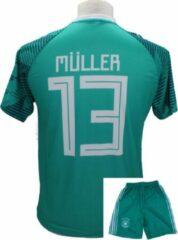 Groene Merkloos / Sans marque Thomas Müller - Duitsland Thuis Tenue - Voetbalshirt + Broek Set - Peuter / Kinder maten en Volwassen maten – Replica Voetbaltenue - Maat: L