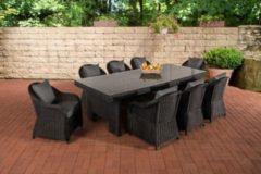 CLP Polyrattan-Sitzgruppe CANDELA XL inklusive Polsterauflagen Garten-Set mit acht Stühlen und Esstisch