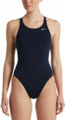 Marineblauwe Nike Hydrastrong Solids Fastback One Piece Dames Sportbadpak - Midnight Navy - Maat 38