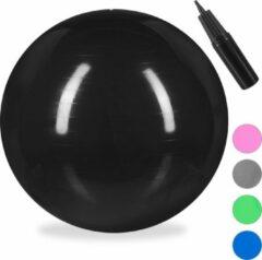 Relaxdays fitnessbal 75 cm - met pompje - gymbal - zitbal - yogabal - pilatesbal - PVC zwart