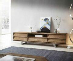 Naturelkleurige DELIFE TV-meubel Eloi natuur 200x40x45 cm teakhouten Tv-meubel