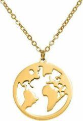 Jumalu ketting choker wereldbol wereldkaart - goudkleurig