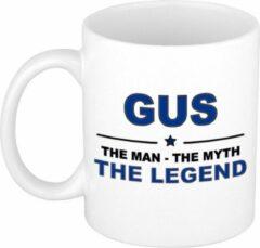 Bellatio Decorations Naam cadeau Gus - The man, The myth the legend koffie mok / beker 300 ml - naam/namen mokken - Cadeau voor o.a verjaardag/ vaderdag/ pensioen/ geslaagd/ bedankt