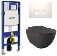 Douche Concurrent Geberit UP 100 toiletset - Inbouw WC Wandcloset - Creavit Mat Antraciet Rimfree Geberit Delta-50 Wit
