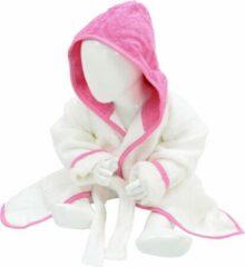 ARTG Babiezz® Baby Badjas met Capuchon Wit - Roze - Maat 98-110