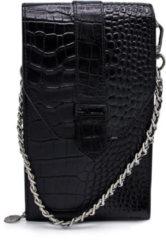 Zwarte Mosz MŌSZ Phone-bag telefoontasje dames leer croco black