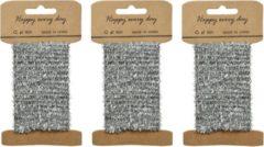 Decoris 3x Zilver lametta lint ijzerdraad op rol 200 cm - Hobby ijzerdraad zilver