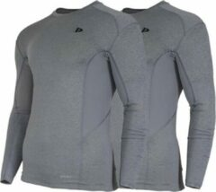 2-Pack Donnay compressie shirt Lange mouw - Baselayer - Heren - Maat S - Grijs gemêleerd