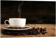 Beige KuijsFotoprint Plexiglas - Kopje Koffie met Koffiebonen - 90x60cm Foto op Plexiglas (Wanddecoratie op Plexiglas)