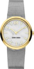 Gouden Danish Design watches edelstalen dameshorloge Rome Two-Tone White Marble IV65Q1211