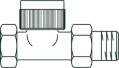 Oventrop Thermostatische radiatorafsluiter E 1/2 recht met bocht Kvs 0,95 m3 h