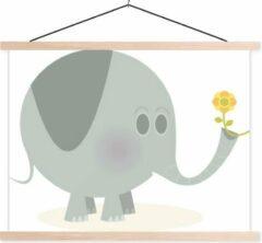 TextilePosters Een illustratie van een baby olifant met een bloem schoolplaat platte latten blank 150x113 cm - Foto print op textielposter (wanddecoratie woonkamer/slaapkamer)