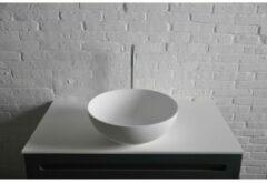 Ideavit Solidthin opbouw wastafel 39x39x14.5cm rond 0 kraangaten 1 wasbak Solid surface wit 280181