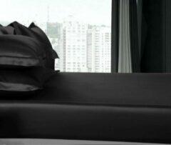 Silkmood Zijden hoeslaken, 100% zijde, 600thread count (22momme), Houtskool zwart 90x220cm