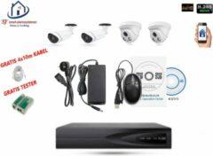 Witte Home-Locking camerasysteem met bewegingsdetectie en NVR 5.0MP H265 POE met 2 binnen en 2 buitencamera's 1944P 5.0MP CS-4-1406