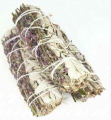 Grijze FineGoods Witte Salie en lavendel - white sage and lavender - smudge stick - 1 stuk - 10cm - meditatie - yoga - huis reiniging - zuivering
