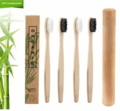 Witte Bamboetandenborstels.nl Set 4 bamboe tandenborstels + 1 bamboe tandenborstelkoker (biologisch afbreekbaar)